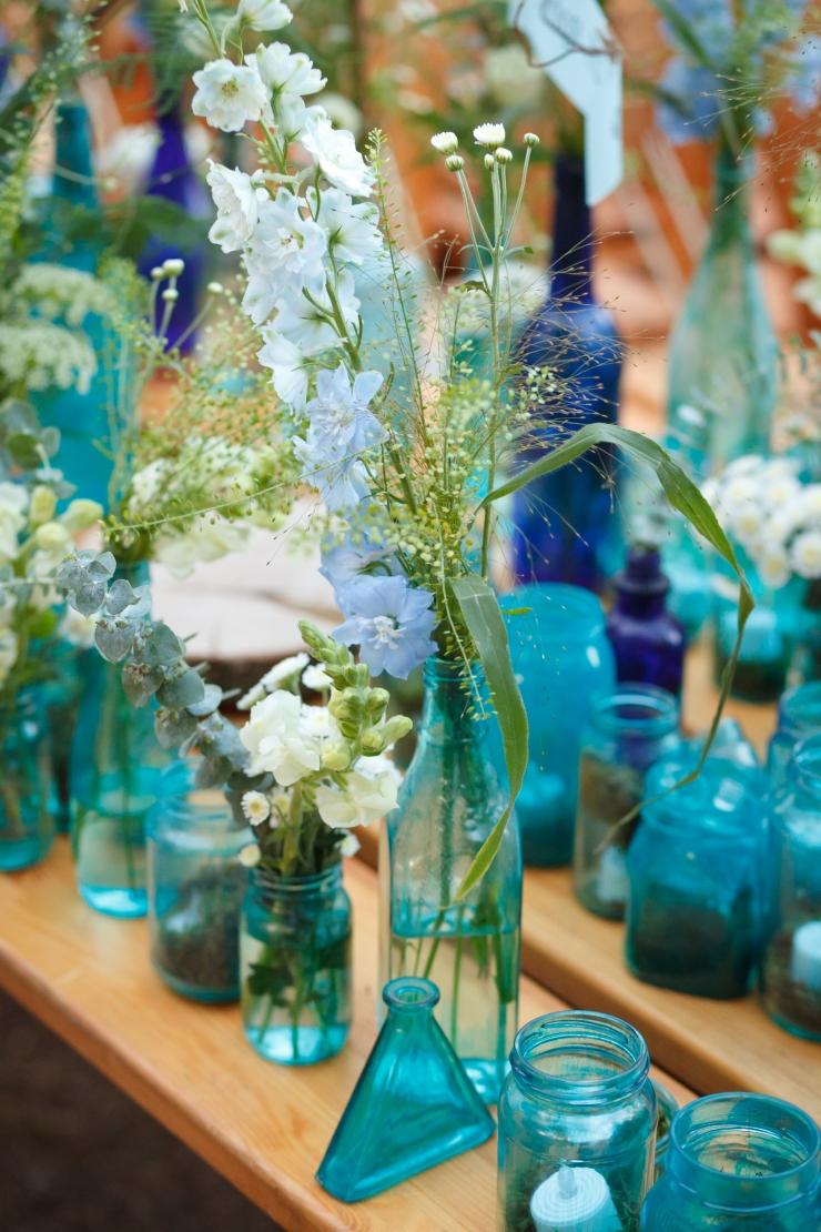 Painted Blue Bottles DIY